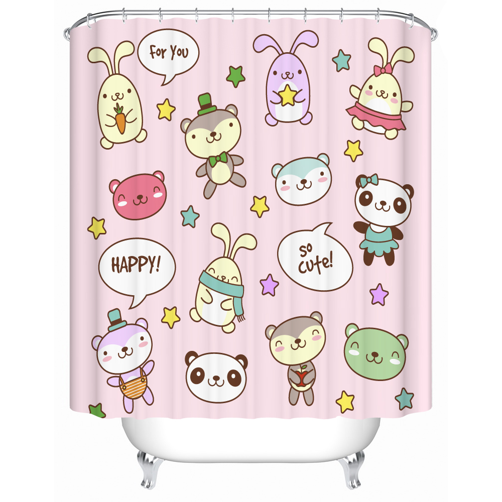 Cartoon Shower Curtain 3d Cute Animal Design Bathroom Curtain Liner Pink <font><b>Kids</b></font> Birthday Gift