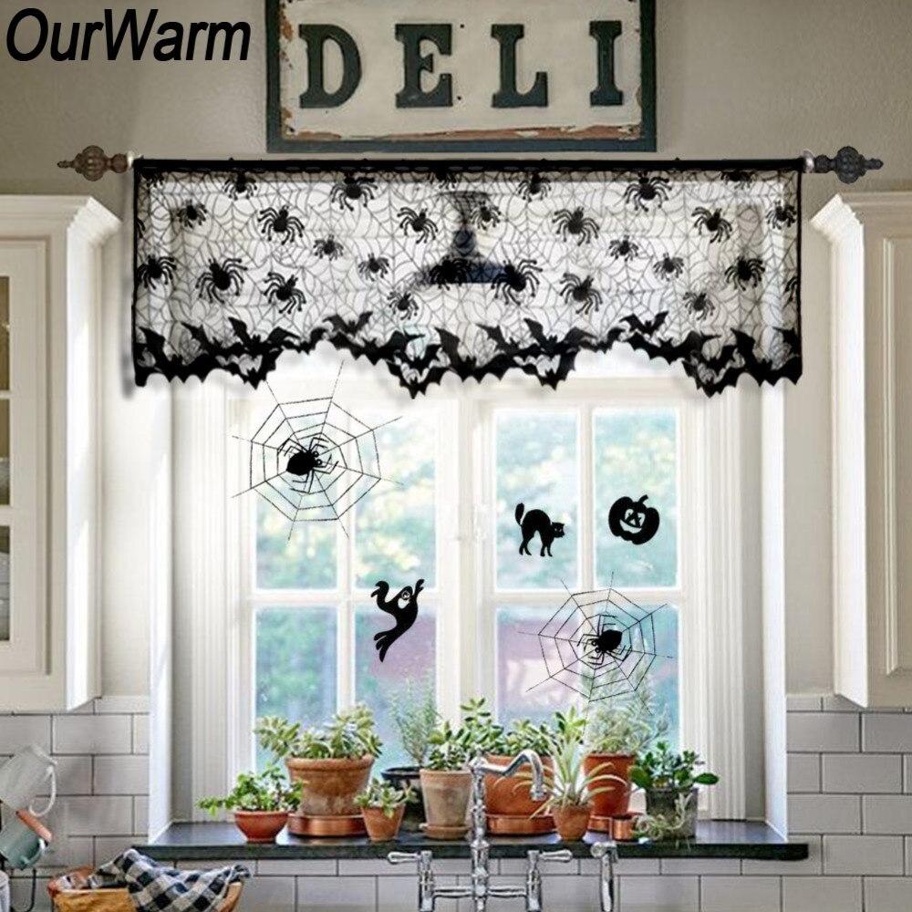 OuWarm Halloween Window Curtain Black Lace Valance Door