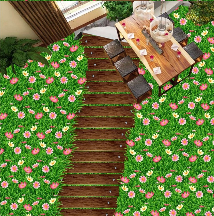 Free Shipping 3D stereo custom wooden road fresh flower green grass self-adhesive PVC floor mural green trees dig agricultural tools road ji special steel flower shovel custom specifications specials