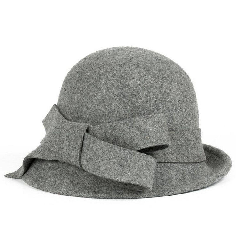 New100% Wool Europe England  Fall Winter Women's Fedora Caps Vintage Sun Hats For Woman Lady Wide Brim Wool Felt Bowknot Hat