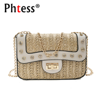 2018 Women Straw Messenger Bags For Girls Sac A Main Small Chains Shoulder Bags Pearl Female
