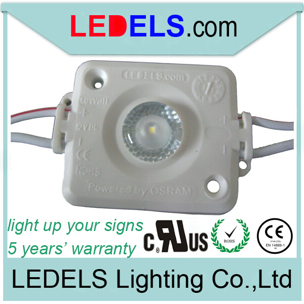 60pcs/bag,12v 1.6w 120lm high power backlight Osram led with lens for lightbox UL CE ROHS,five years warranty, waterproof IP65