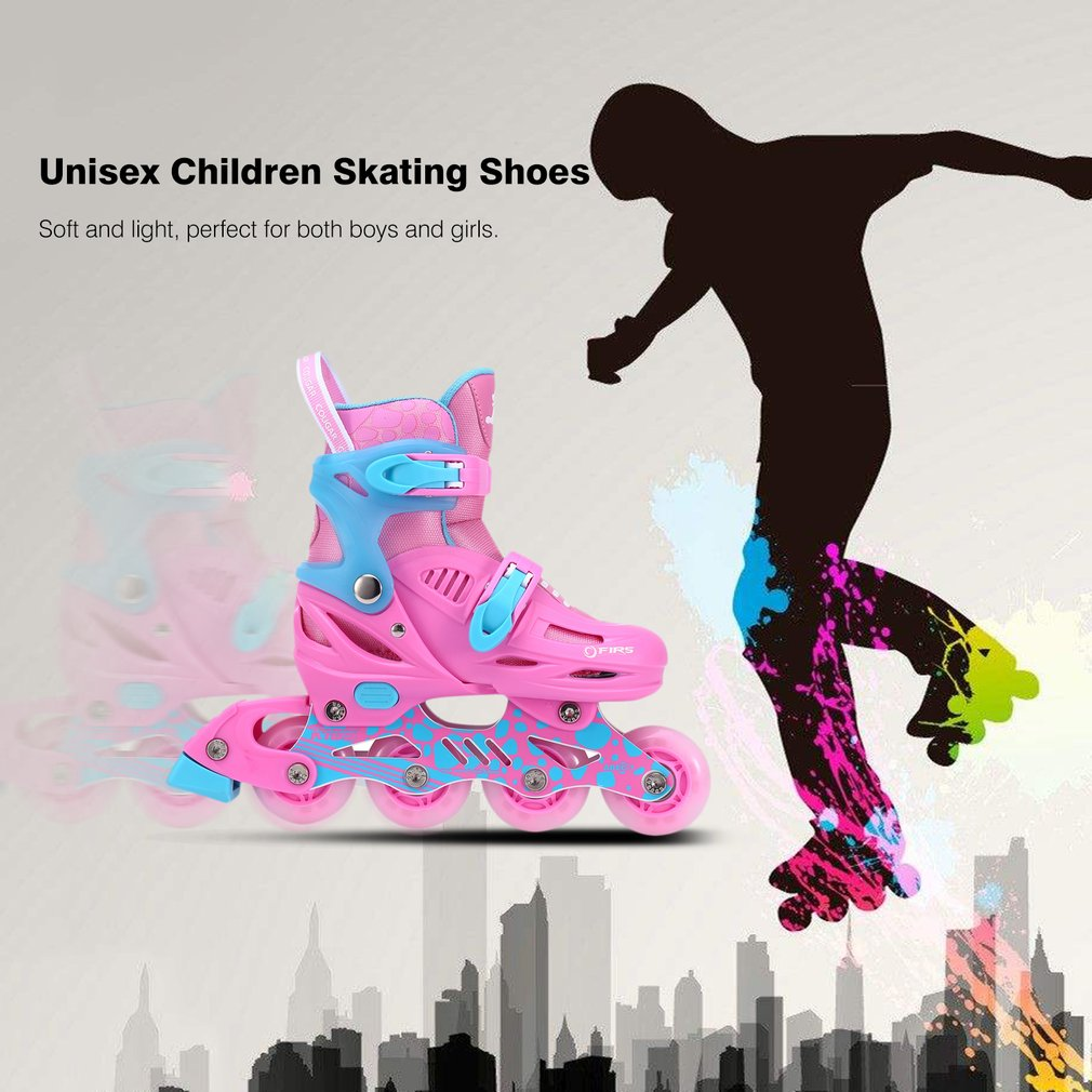 купить Unisex Children Skating Shoes Professional Single-row Roller Skates Shoes Adjustable Kids Inline Skating Shoes Perfect Gift онлайн