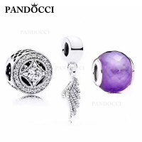 PANDOCCI 100% 925 Sterling Silver Feather Pendant Geometric Charm Face Glass Beads Gift Set Retro Jewelry Brand Factory Direct