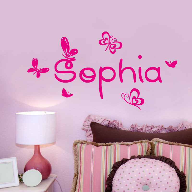 Customized Any Name Cute Butterfly Wall Sticker Girl Baby Bedroom Decor Diy Vinyl Removeable Wall Decals