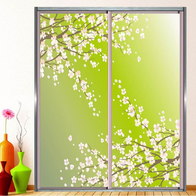 Self Adhesive Funiture Sliding Door / Window Film Sticker Customized Size  Opaque Frosted Glass Film Sakura