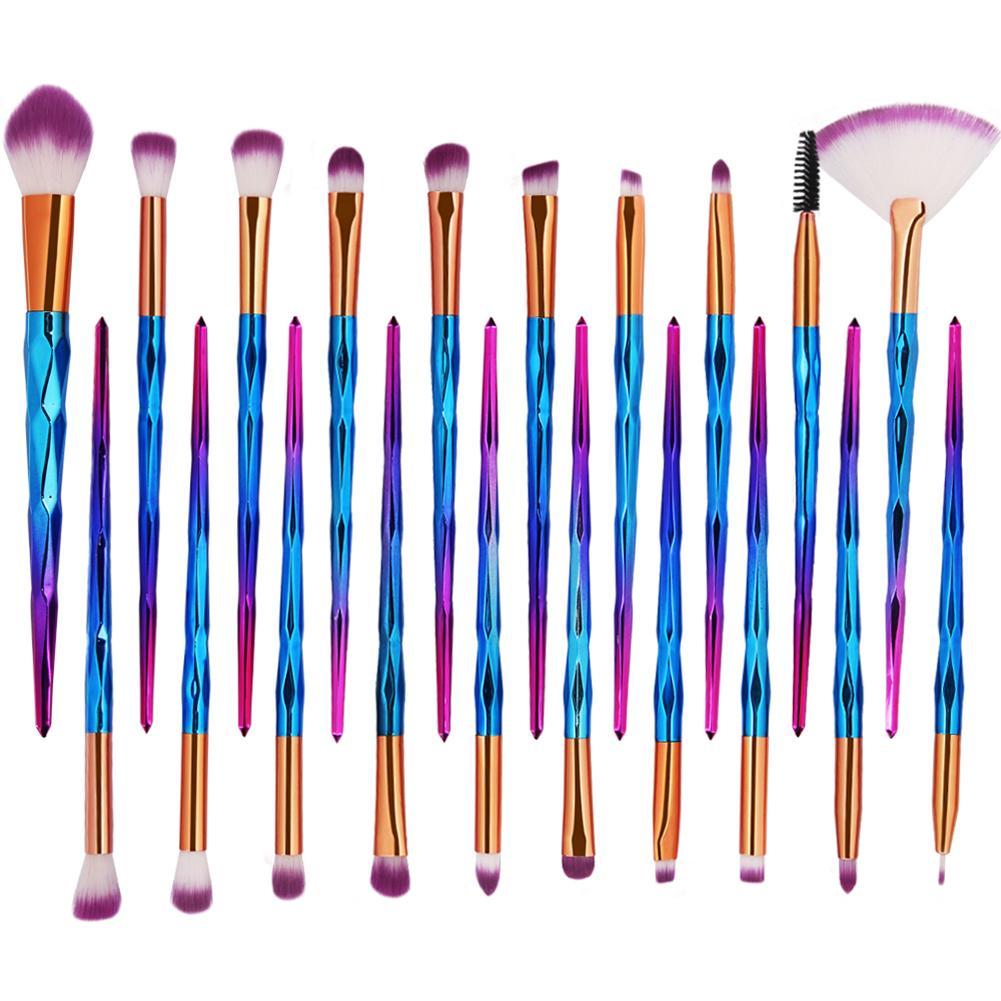 20Pcs Diamond Rainbow Makeup Brushes Contour Concealer Powder Foundation Cosmetic Eyeshadow Brush Face Eye Make Up Brush Set New zoeva 142 concealer buffer face brush maquiagem make up brush concealer brush