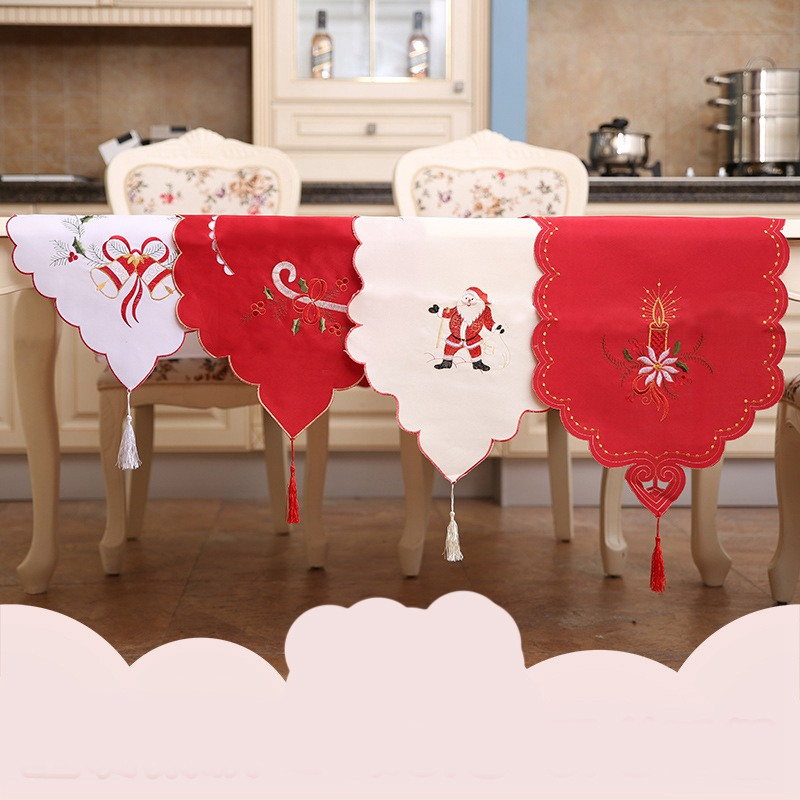 Hollow Christmas Table Flag Table Runners Fancy Santa Claus Embroidery  Wedding Party Chair Bands Vintage Home