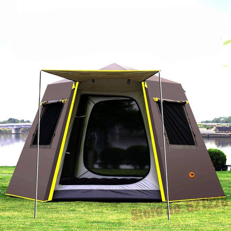 UV Hexagonal Aluminum Rod Automatic <font><b>4</b></font> 5 6 Person Anti Rain Tarp Wind Proof Sun shelte Family Awning Outdoor Camping Pergola Tent image