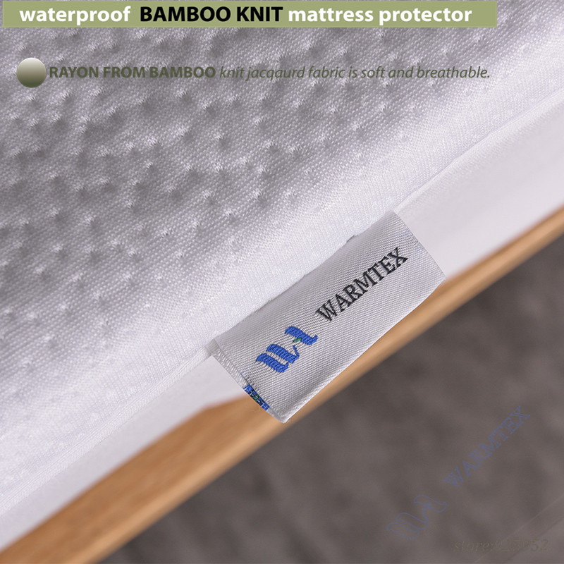 full size 1.35m bed waterproof Bamboo Knit Jacquard mattress Protector Jacquard cloth mattress cover 100% Waterproof W014 A