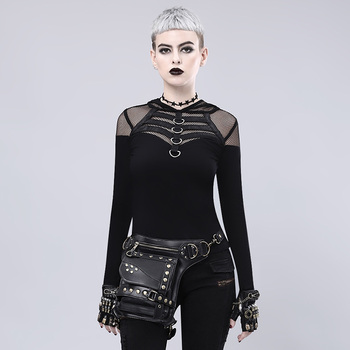 Black Rivet Leather Vintage Handbag Steampunk Waist Bag Gothic