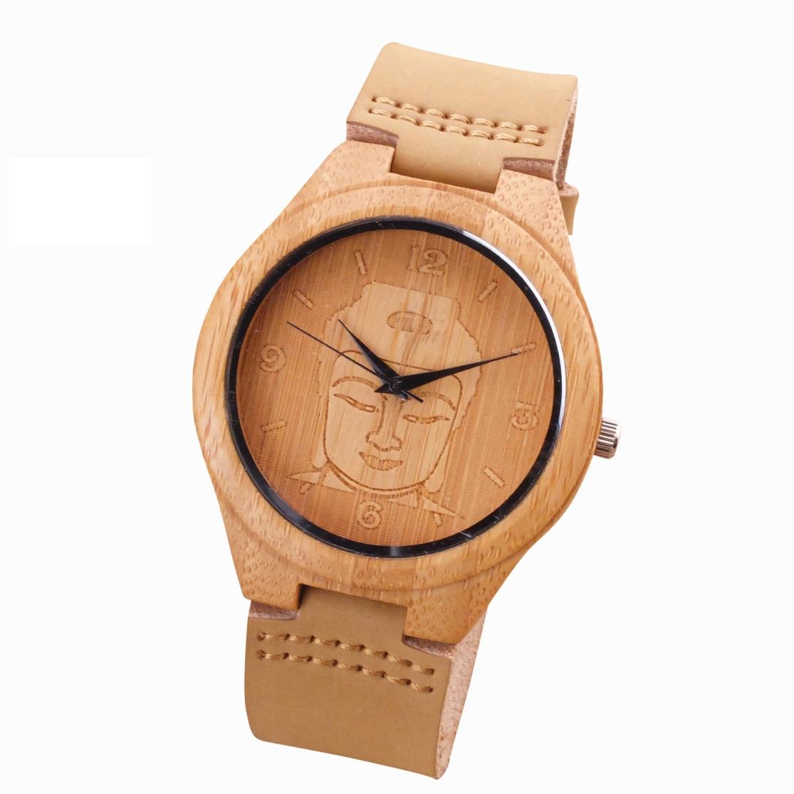Uhren Honig 2018 Bambus Holz Uhr Minimalistischen Buddha Echtem Leder Band Strap Natur Holz Armreif Armbanduhr Unisex Reloj Hombre Uhr
