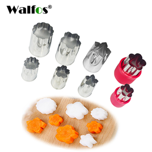 WALFOS 8 pieces Stainless Steel Flower Star Shape Vegetable Fruit Cutter Mold Cake Cookies Cutting Shape Cake Baking Tools