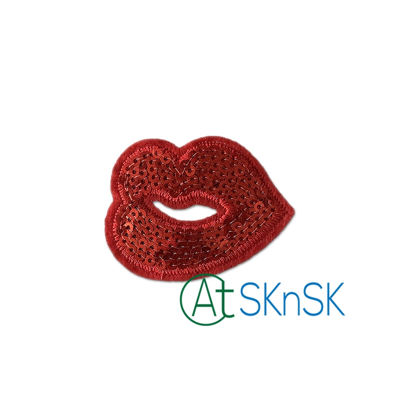 4pcs Lipstick Makeup Sew Iron on Embroidered Sequin Repair Patches DIY Craft