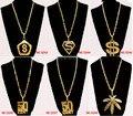 Moda de Nova Colares para Mulheres 2014 Homens Hip Hop Jóias De Ouro Longo Dólar USD/Maple Leaf/50 CENT/Colar de Pingente de letra S