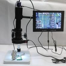 VGA Video Microscope Camera X/Y Cross-Line Detection 180X 300X C-mount Lens LED light Source Workbench 10-inch Monitor