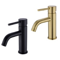 AODEYI Solid Brass Bathroom Sink Faucet, Matte Black or Brushed Gold Hot Cold Mixing Single Handle Basin Taps 12 007B