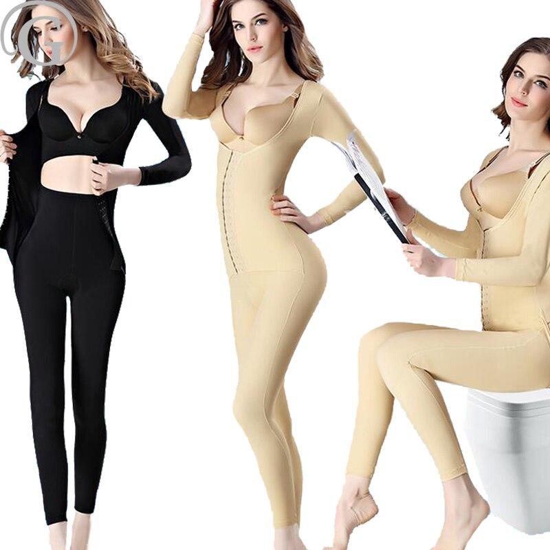 PRAYGER New Women Open Butt Bodysuits Slimming Waist Full Body Shaper Control Abdomen Shapewear Long Sleeves