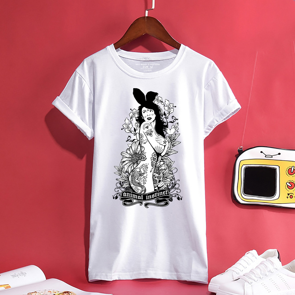 Swag Trendy Tattoo Nude Bunny Girl Design Men/Womens T-shirt Summer Comfortable Breathable Quality 100%Cotton Unisex Tees Top ...