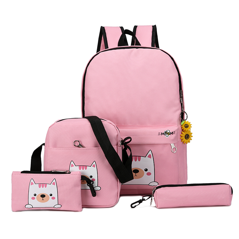 Pink, Cute, Backpacks, set, Women, Cat