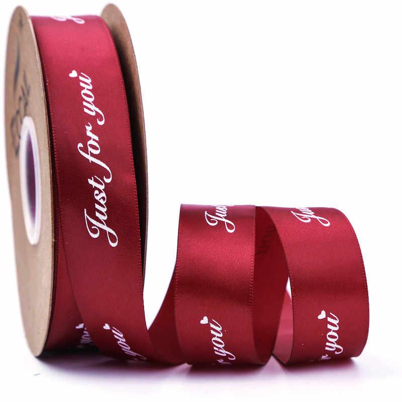 เพียงพิมพ์ริบบิ้นซาตินสำหรับตกแต่งงานแต่งงาน DIY งานฝีมือของขวัญบรรจุเย็บอุปกรณ์เสริม 25 มม. 5 M