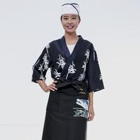 Japanese restaurant uniforms sushi chef Jackets Unisex Kimono Workwear food service Cook costume Kitchen Overalls Tops