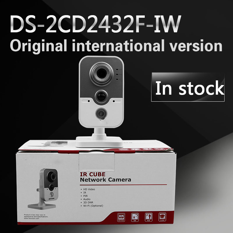 In stock DHL Free shipping DS-2CD2432F-IW English version 3MP IR mini cube cctv security POE camera, wireless ip camera стоимость