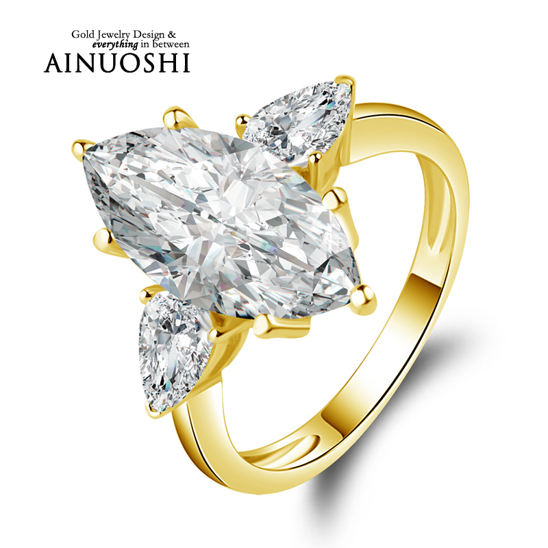 ainuoshi 10k solid yellow gold wedding ring 45 carat marquise cut sona diamond anelli 3 stones design women wedding rings - 2 Carat Wedding Ring
