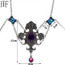 Big Size 13*8cm Cross Layered Necklace Fashion Vintage Crystal Pendant Necklaces Pink Blue Cubic Zirconia Sweater Accessories