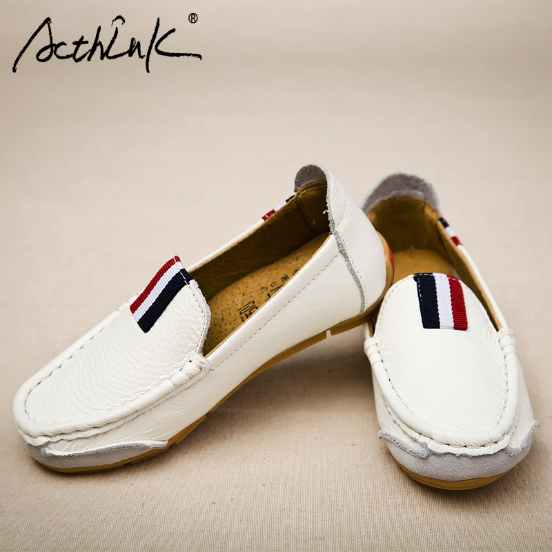 ActhInK New Boys Genuine Leather Loafers England Style Children Spring Slip-On Shoes Brand School Kids Leather Flats Boys Loafer