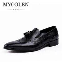 MYCOLEN новые летние из натуральной кожи Мужская деловая обувь с кисточками острый носок Свадебная вечеринка платье обувь дышащая Для мужчин п