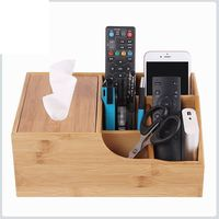 Multifunctional Tissue Boxes Creative Bamboo Storage Box Desktop Coffee Table Remote Control Organizer Paper Boxes Wooden Box
