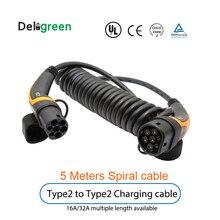 22kw 11KW 16A 32A evケーブルタイプ2にタイプ2 IEC62196 ev充電ケーブル5メートルと3相ケーブルtuv/ul spiralingケーブル