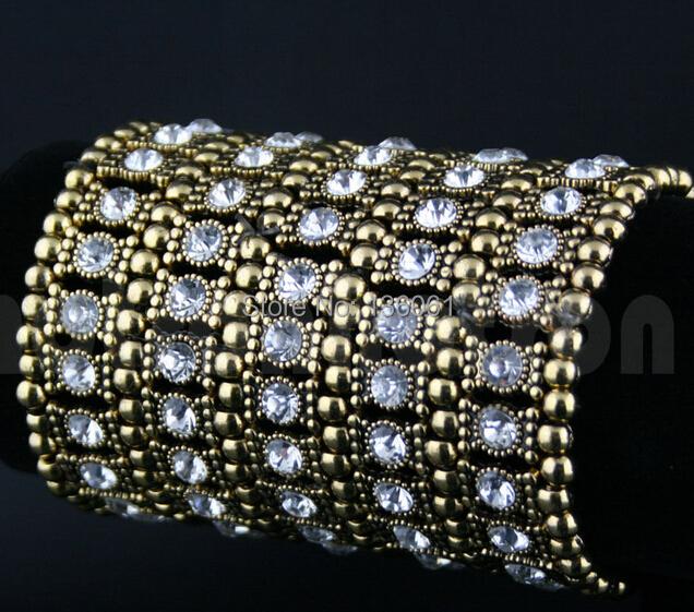 Moda Jóias Vintage 5 Row Encantos Corrente de Ouro Crystal Clear Rhinestone Estiramento Cuff Pulseiras Bangle Para As Mulheres 2 pcs X565