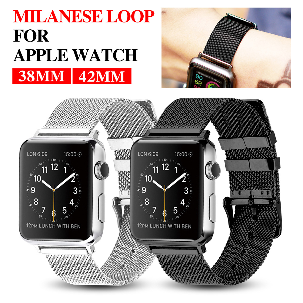 MU SEN Wristband for Apple watch bracelet belt black watchbands genuine leather strap watch band 38mm 42mm iwatch series 3/2/1 cowhide genuine leather strap watch band for apple watch iwatch series 1 series 2 38mm 42mm wristband replacement with adapter