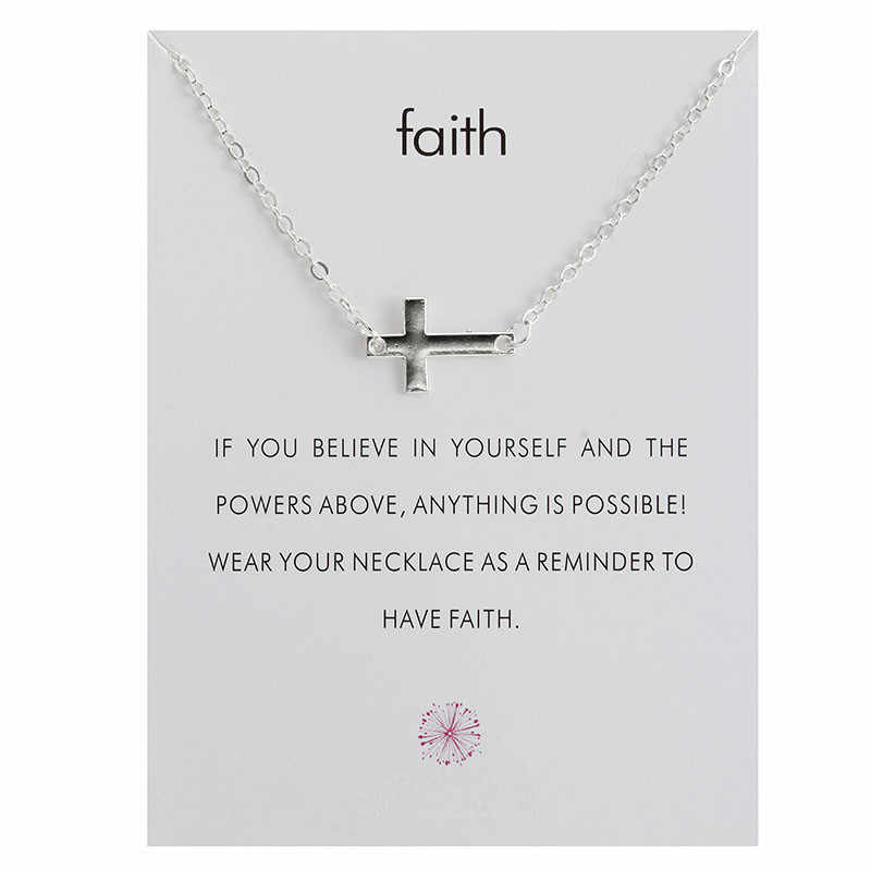 "Hot Sale ""Faith"" Sideways Cross Pendant Necklace For Women Jewelry"