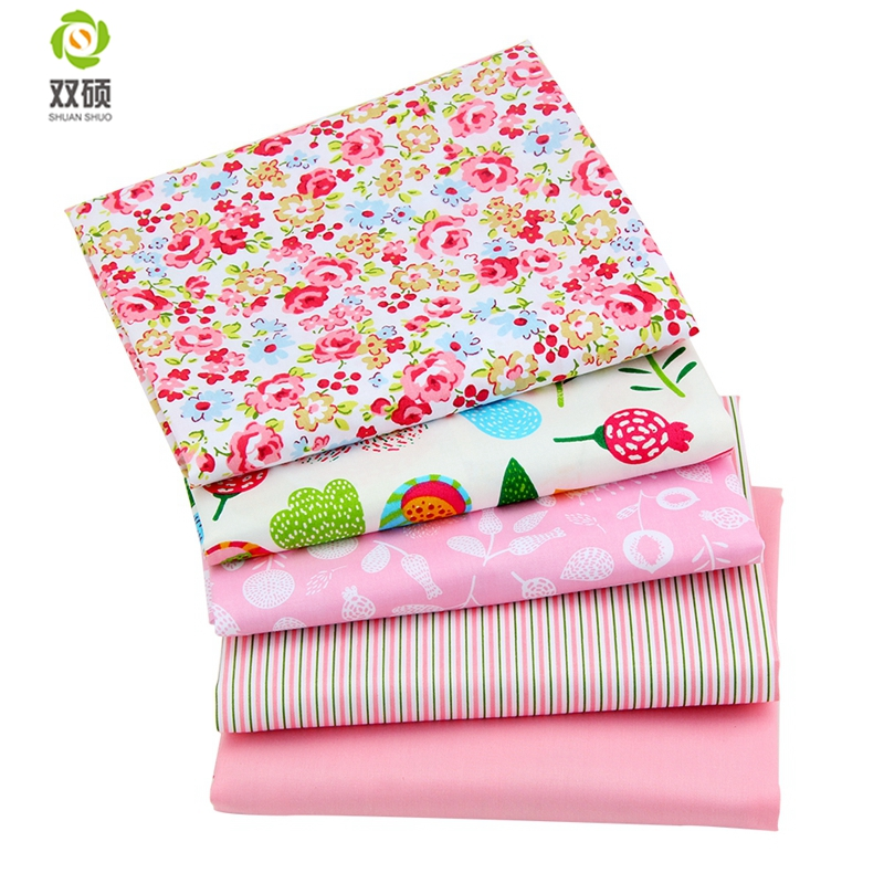Pink Farge Patchwork Sying 100% Cotton Fabric Printed Flower 40 * 50cm Tissus Fat Quarters Cloth 40 * 50cm A2-5-12