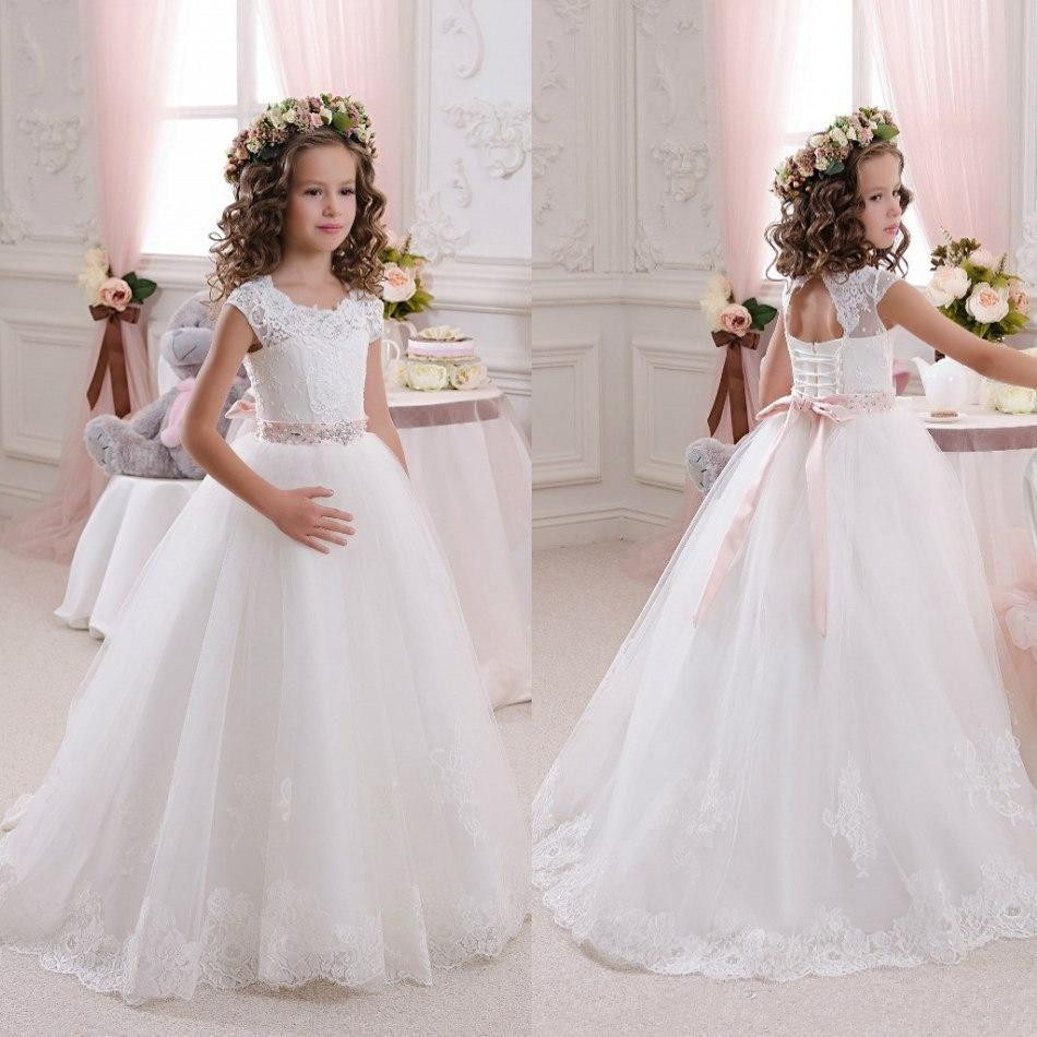 Beautiful White Flower Girls Dresses For Weddings Lace Scoop Sleeveless First Communion Dress Princess Girls size 2-16 цены онлайн