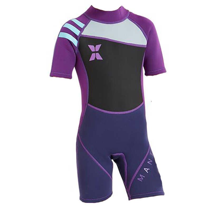 d646659795 ... Dive sail scuba kids girls 2.5mm short sleeve wetsuit skin dive  swimming suit for winter swim ...