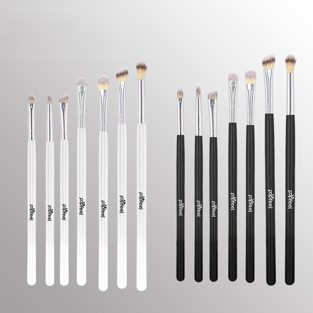 Popfeel 7pcs Eyeshadow Makeup Brushes Set Pro White/Black Eye Shadow Blending Make Up Brushes Soft Synthetic Hair For Beauty