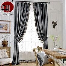 Velvet-Curtains Soft-Drapes Living-Room Bedroom Europe Solid for Luxury with Pom-Pom