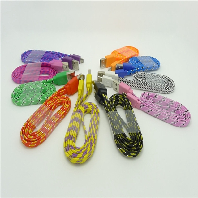Wholesale 200pcs/Lot 1M 3ft Durable flat Braided Fabric Micro USB 2.0 Data Charger Cable For Samsung Blackberry for HTC