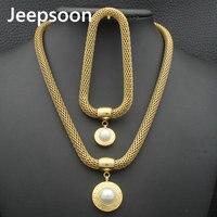 In Acciaio Inox Set di Gioielli D'epoca Imitazione Perla Argento e Color Oro Braccialetto + Collana set Per Le Donne SBJZAADH