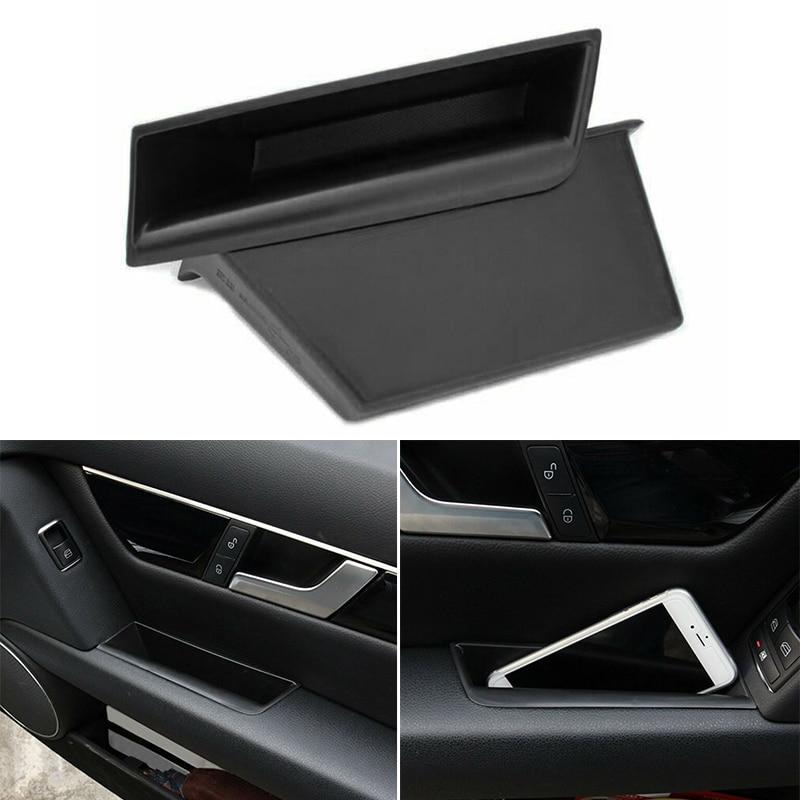 Car Storage Box Front Door Side Handle Organizer For Mercedes-Benz C Class W204 2008-2014 Tickets Plastic Black Storage Boxes