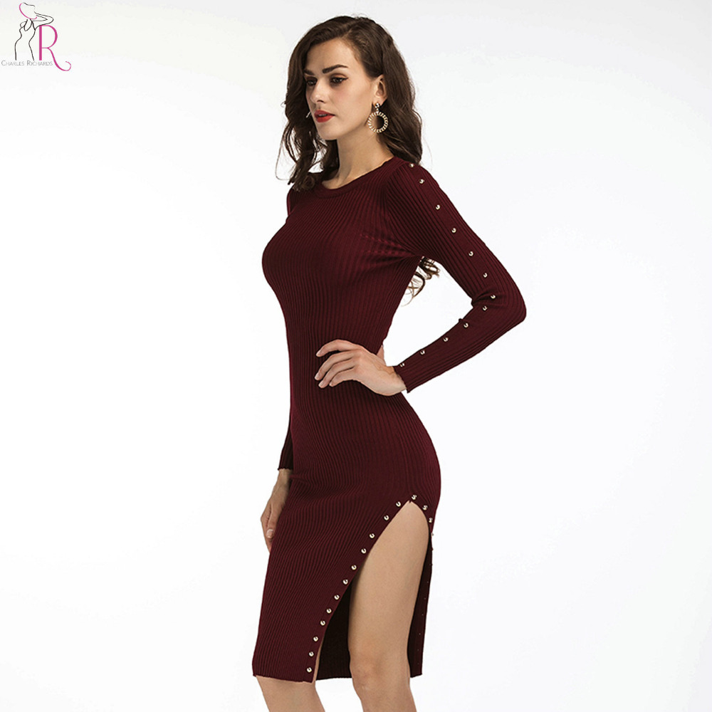 2017 Stud Knitted Rivets Up Bodycon Sweater Dress Women Long Sleeve Side Split Knee Length 2 Colors Autumn Winter Basic Dresses