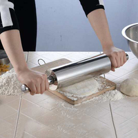 304 Stainless Steel Fondant Rolling Pin Baking Rough Clay Pizza Pasta Kitchen Roller Non Stick Cake Accessories
