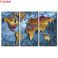 3 Pcs Full Square round Diamond Embroidery Multi picture Abstract world map 5D Diamond Painting Rhinestone DIY Diamond Mosaic