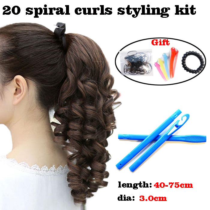 20 Large No Heat  Hair Curler Spiral Curls Styling Kit For Extra Long Magic Hair Rollers Up To 15.7 29.5 Inches (40 75 Cm)