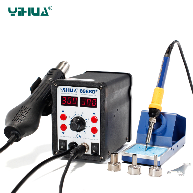 YIHUA898BD+ Desoldering Hot Air Soldering Station 110 V With Iron Soldering Welding Station For Repair hot selling yihua 926 adjustable temperature electronic soldering iron station