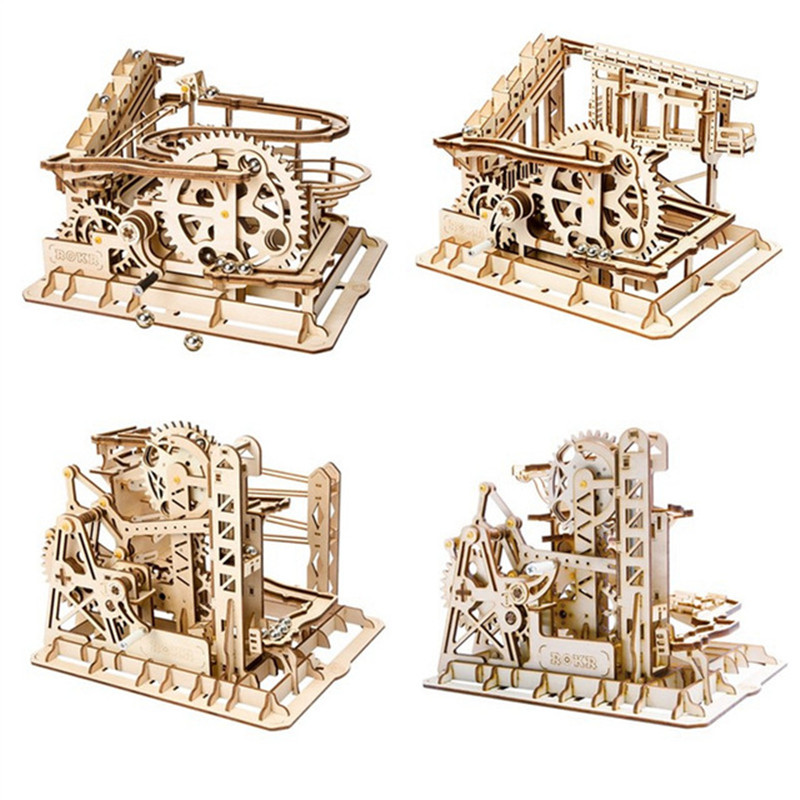 Robotime Game DIY Waterwheel Coaster Wooden Model Building Kits Assembly 3D Jigsaw Puzzle Educational Gift for Children Adult цены